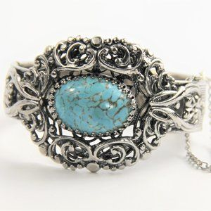 Jewelry - VINTAGE FX TURQUOISE FILIGREE BANGLE BRACELET